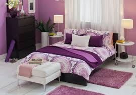bedroom sweet teeny decoration with purple wall color interior