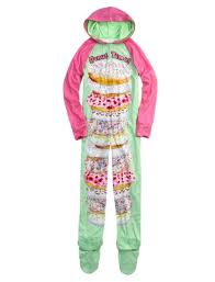 donut fleece pajama with removable footies justice clothing