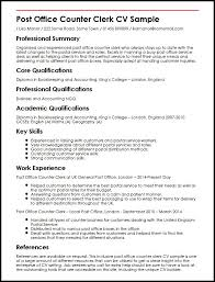 Sample Bank Resume by Post Office Counter Clerk Cv Sample Myperfectcv