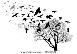 bare tree flying birds vector stock vector 215858521