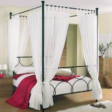 Poster Bed Curtains Tab Top Voile 4 Poster Bed Curtain Set Includes 8 Voile Panels