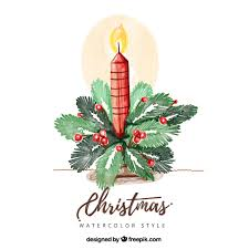 christmas candle background with hand painted ornaments vector