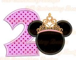 princess minnie face 3rd birthday embroidery applique design