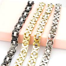 metal chain link bracelet images Fashion jewelry flat byzantine chain link bracelet for men women jpg
