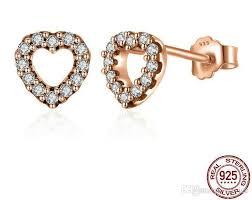 studded earrings 2018 diamond studded heart gold stud earrings earrings s925