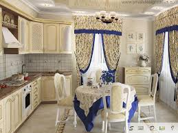 colorful design ideas for modern kitchen blue leitmotiff of the tablecloth and curtains in the classic designed kitchen