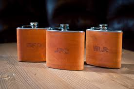 his and flasks personalized leather hip flask groomsmen gift monogram