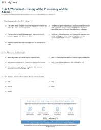 quiz u0026 worksheet history of the presidency of john adams study com