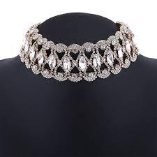 collar diamond necklace images Luxury full diamond crystal rhinestone pendant choker collar gold jpg