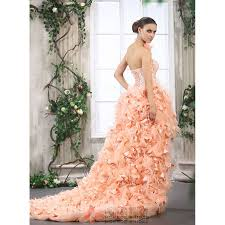high low ruffle wedding dress high low feathered wedding gown stunning strapless