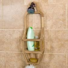 amazon com patented moa oval teak shower organizer home u0026 kitchen