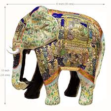 ivory blue decorative papier mache embossed elephant sculpture