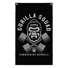 Black Beard Flag Gorilla Squad 3 U0027 X 5 U0027 Polyester Flag Black Conquering Barbell