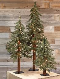 pre lit artificial alpine trees set of 3 ornament decoration and