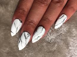 matte white marble stiletto nails set of 24 dreams of