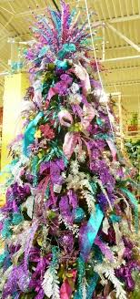 arcadia floral and home decor christmas tree with purple blue and silver decorations frosty blue