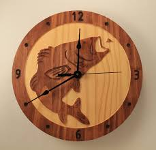 Wooden Wall Clock Pine Bass Clock Fish Clock Wood Clock Wall Clock Wooden Wall