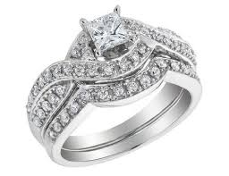 engagement ring and wedding band set princess cut diamond engagement ring wedding band set