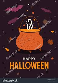 halloween illustration witchs pot boiling potions stock vector
