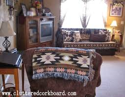 western throws for sofas western decor and faux cowhide throw pillows cluttered corkboard