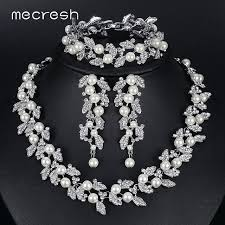 wedding necklace bridal images Mecresh simulated pearl bridal jewelry sets silver gold color jpg