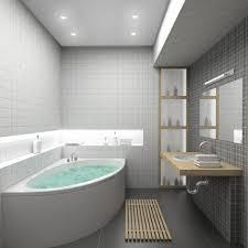 stunning small bathroom designs with corner white bath tub and l
