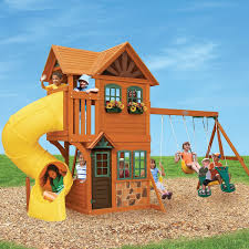 wooden outdoor play set swing slide backyard playground playhouse