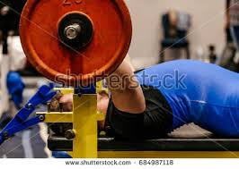 Powerlift Bench Man Powerlifter Competition Powerlifting Bench Press Stock Photo
