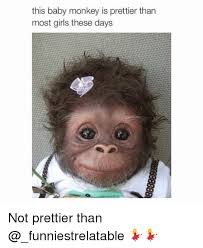 Monkey Meme - this baby monkey is prettier than most girls these days not prettier
