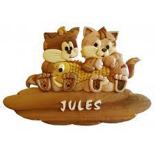 pr駭om bois porte chambre plaque de porte prénom en bois pour chambre d enfant chatons et