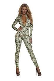 Catsuit Halloween Costumes Money Print Catsuit Forplay Women U0027s Bodysuit Halloween
