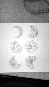 floral phases of the moon idea original drawing tattoos