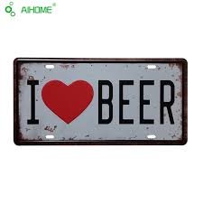 iron plate painting vintage tin signs i love beer home decor