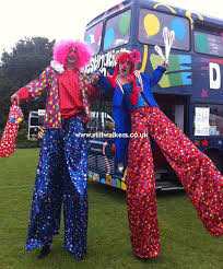 clown stilts circus themed stilt walkers walking acts