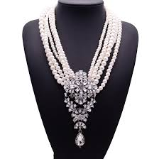 pearl crystal statement necklace images Wholesale new fashion xg233 luxury necklaces pendants long jpg