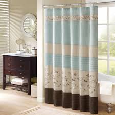 Brown Floral Shower Curtain Buy Blue Stripe Fabric Shower Curtain From Bed Bath U0026 Beyond