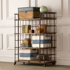 Shelves With Wheels by Loft American Country Retro Wrought Iron Wood Bookcase Shelves