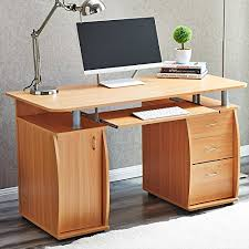 computer desktop table design raygar beech deluxe design computer desk with cabinet and 3 drawers