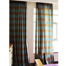 Blue Plaid Curtains American Style Blue Brown Plaid Linen Country Curtains