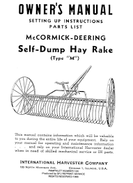 mccormick deering self dump hay rake u2013 small farmer u0027s journal