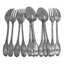 puiforcat rare french sterling silver dinner flatware set 12 pc