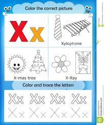 alphabet learning and color letter x stock illustration image