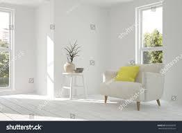 white minimalist room armchair scandinavian interior stock