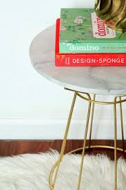 diy faux carrera marble side table shannon claire