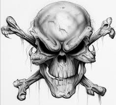 evil skull and cross bones tattoo design in 2017 real photo