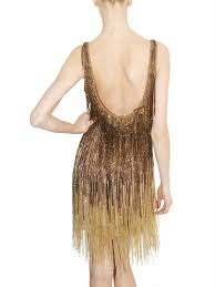 Beaded Fringe For Curtains Roberto Cavalli Embellished Fringed Dress In Metallic Lyst