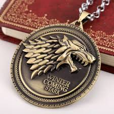 silver wolf pendant necklace images Game of thrones necklace house stark winter is coming bronze jpg
