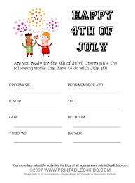 4th of july word scramble printables for kids u2013 free word search
