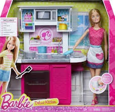barbie doll and kitchen furniture set toys