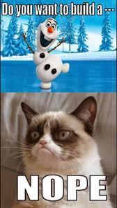 Grumpy Cat Snow Meme - enjoy snow but grumpy cat and olaf too cute to not pin